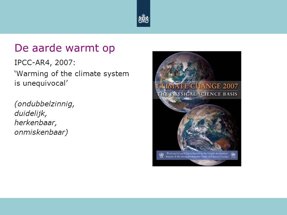 De aarde warmt op IPCC-AR4, 2007: 'Warming of the climate system is unequivocal' (ondubbelzinnig, duidelijk, herkenbaar, onmiskenbaar)