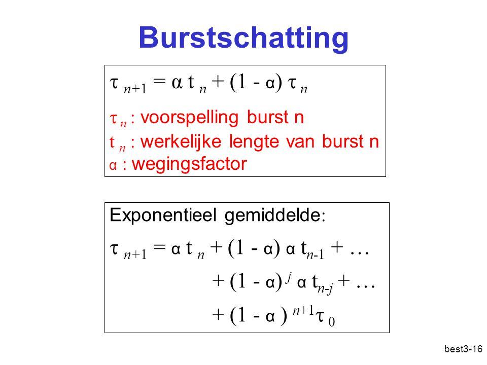 best3-16 Burstschatting  n+1 = α t n + (1 - α )  n  n : voorspelling burst n t n : werkelijke lengte van burst n α : wegingsfactor Exponentieel gemiddelde :  n+1 = α t n + (1 - α ) α t n-1 + … + (1 - α ) j α t n-j + … + (1 - α ) n+1  0