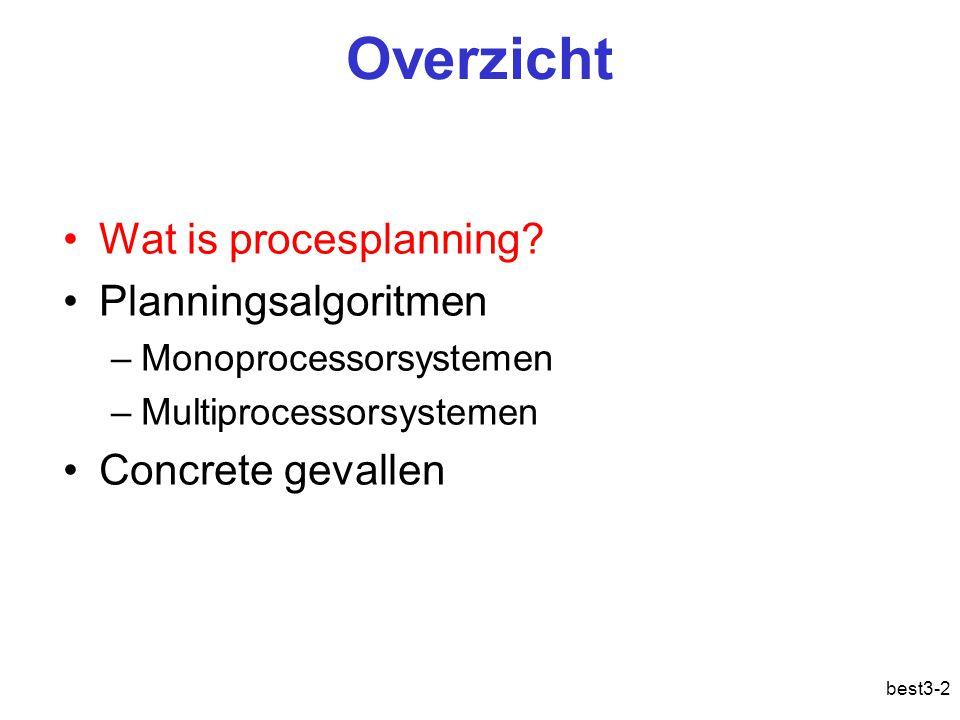 best3-2 Overzicht Wat is procesplanning? Planningsalgoritmen –Monoprocessorsystemen –Multiprocessorsystemen Concrete gevallen