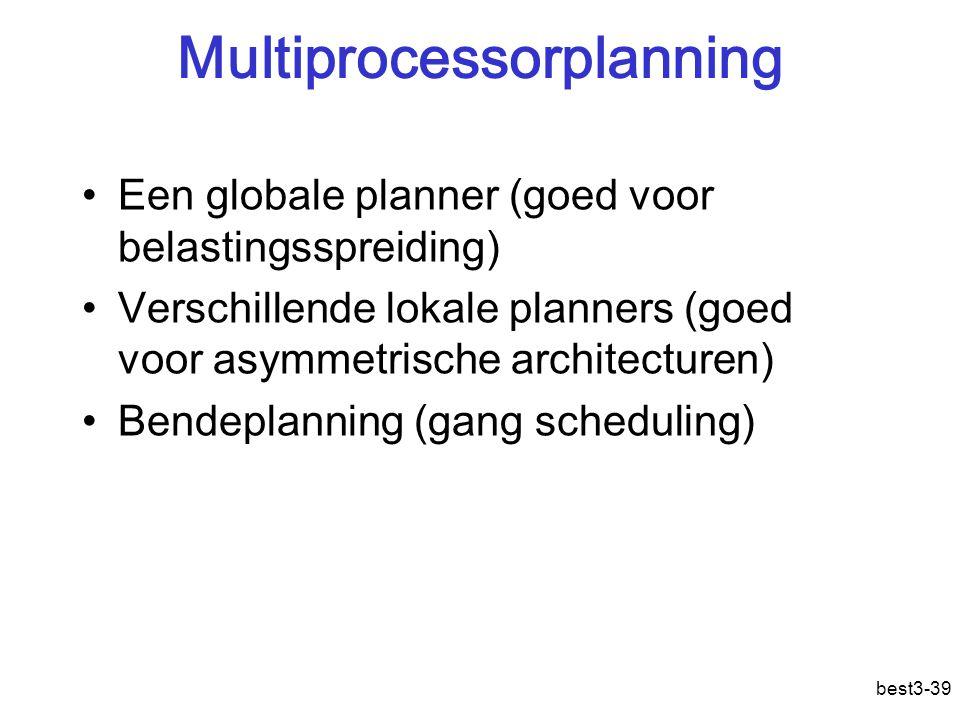 best3-39 Multiprocessorplanning Een globale planner (goed voor belastingsspreiding) Verschillende lokale planners (goed voor asymmetrische architecturen) Bendeplanning (gang scheduling)
