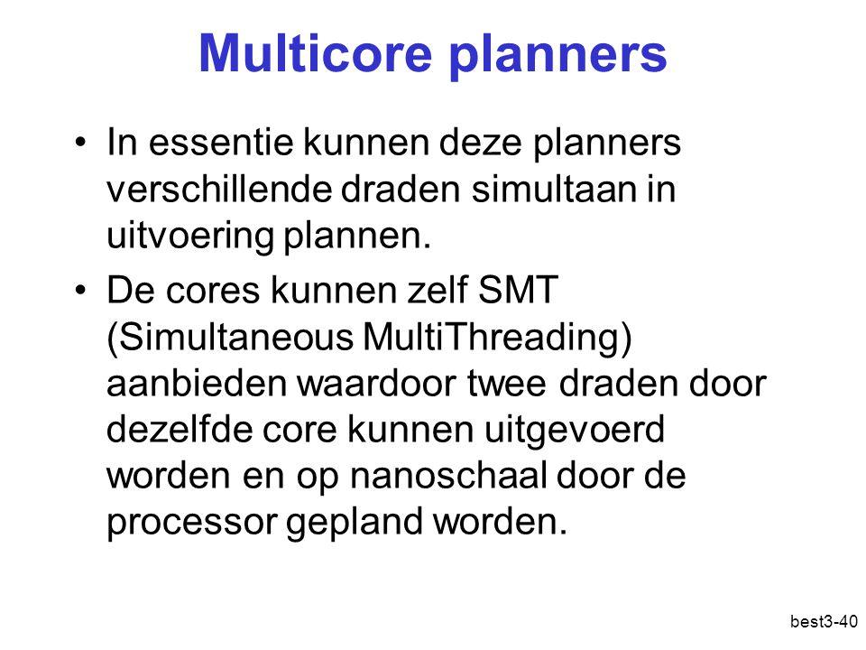 Multicore planners In essentie kunnen deze planners verschillende draden simultaan in uitvoering plannen. De cores kunnen zelf SMT (Simultaneous Multi