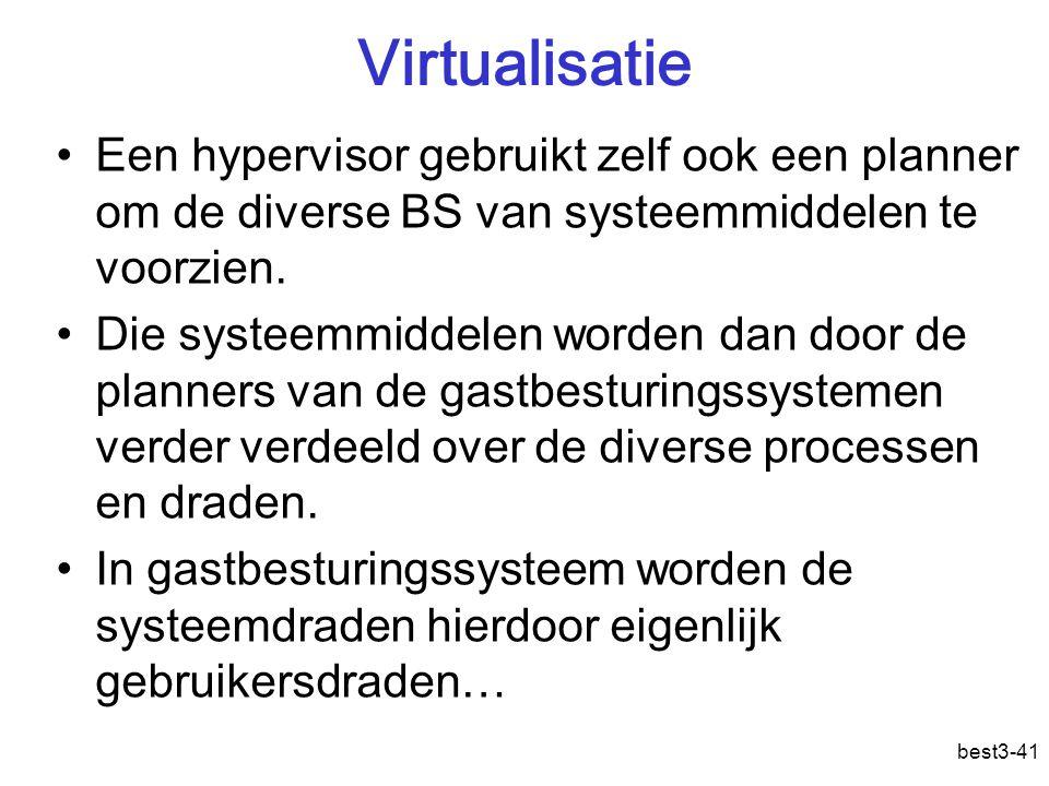 Virtualisatie Een hypervisor gebruikt zelf ook een planner om de diverse BS van systeemmiddelen te voorzien.