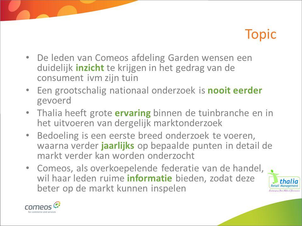 Topic De leden van Comeos afdeling Garden wensen een duidelijk inzicht te krijgen in het gedrag van de consument ivm zijn tuin Een grootschalig nation