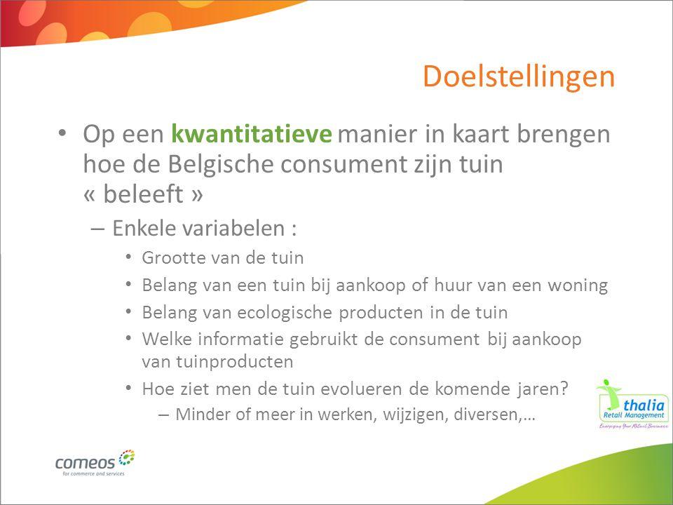 Doelstellingen Op een kwantitatieve manier in kaart brengen hoe de Belgische consument zijn tuin « beleeft » – Enkele variabelen : Grootte van de tuin