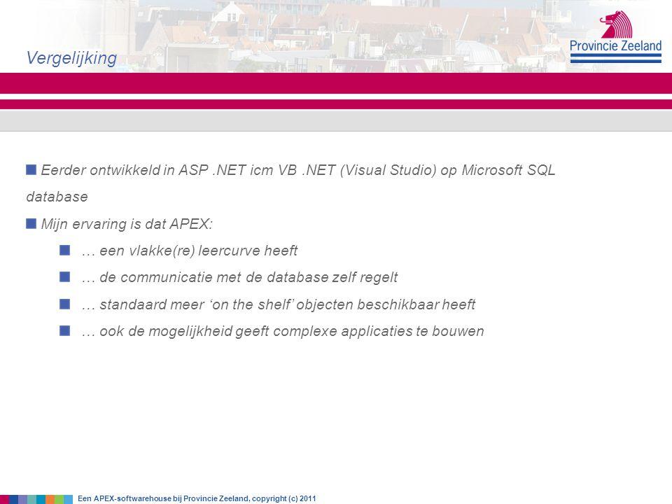Eerder ontwikkeld in ASP.NET icm VB.NET (Visual Studio) op Microsoft SQL database Mijn ervaring is dat APEX: … een vlakke(re) leercurve heeft … de com