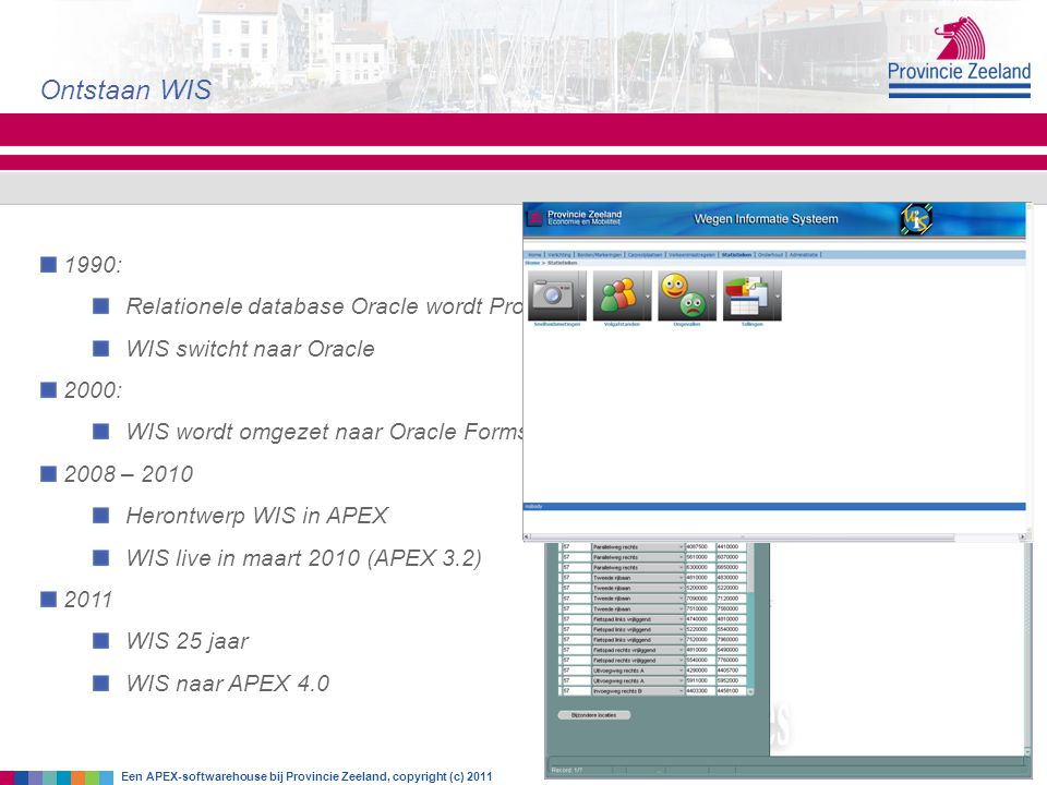 Ontstaan WIS Een APEX-softwarehouse bij Provincie Zeeland, copyright (c) 2011 1990: Relationele database Oracle wordt Provinciale Standaard WIS switcht naar Oracle 2000: WIS wordt omgezet naar Oracle Forms 2008 – 2010 Herontwerp WIS in APEX WIS live in maart 2010 (APEX 3.2) 2011 WIS 25 jaar WIS naar APEX 4.0