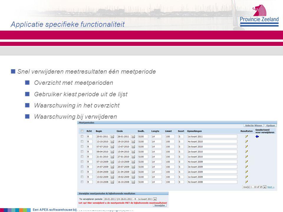 Snel verwijderen meetresultaten één meetperiode Overzicht met meetperioden Gebruiker kiest periode uit de lijst Waarschuwing in het overzicht Waarschu