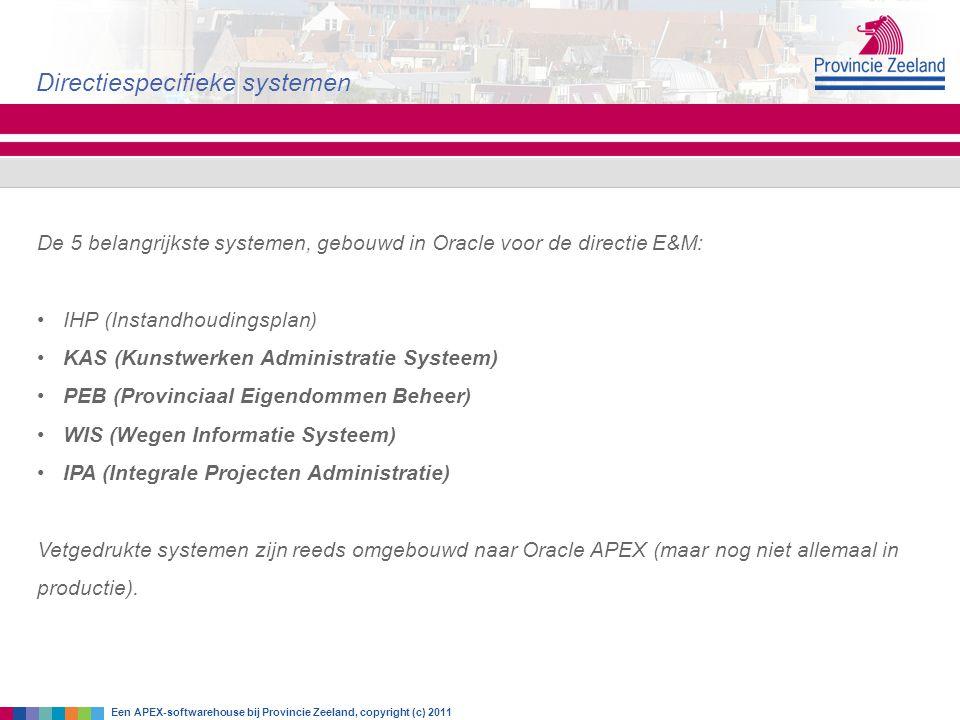 Directiespecifieke systemen Een APEX-softwarehouse bij Provincie Zeeland, copyright (c) 2011 De 5 belangrijkste systemen, gebouwd in Oracle voor de di