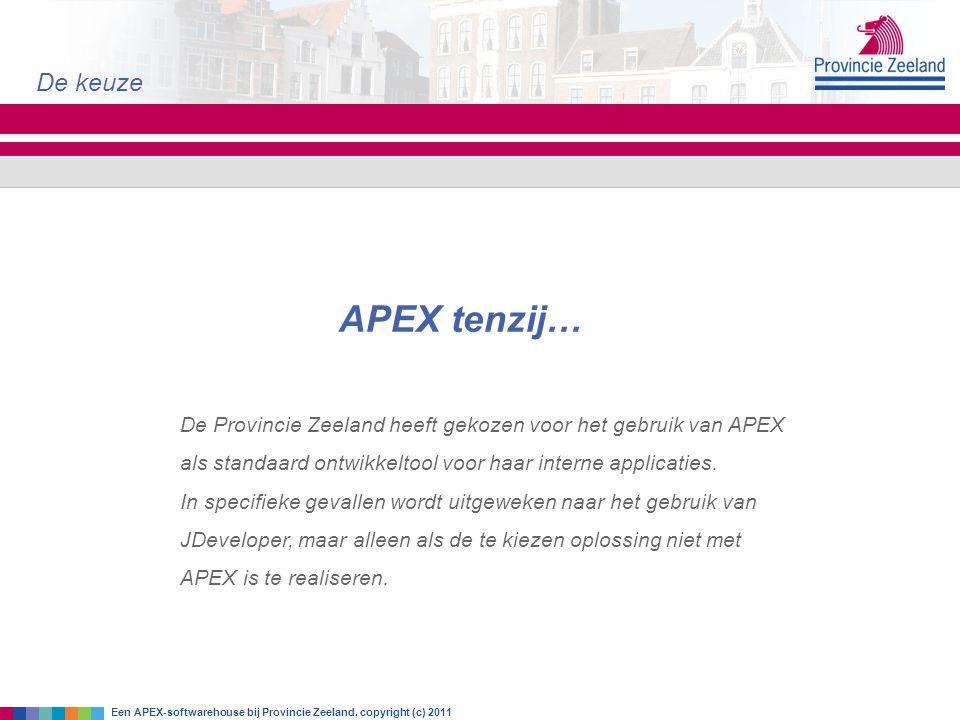 APEX tenzij… De keuze Een APEX-softwarehouse bij Provincie Zeeland, copyright (c) 2011 De Provincie Zeeland heeft gekozen voor het gebruik van APEX al