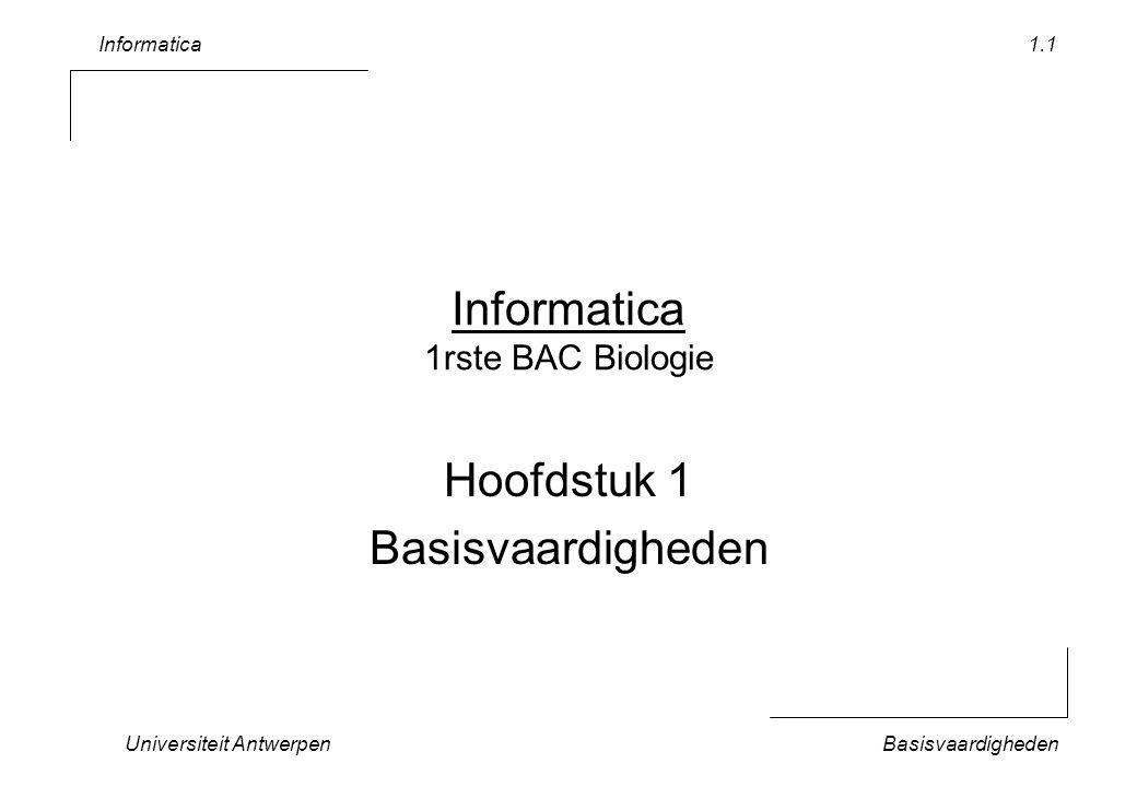 Informatica Universiteit AntwerpenBasisvaardigheden 1.2 Inhoud Rekenblad –Navigeren door een venster –Bewaren –Formules (relatieve referenties) –Floating Point (precisie) –Formules (absolute referenties, namen) –Getalformaat: fracties, datum Lopende oefening –Vleermuisobservaties