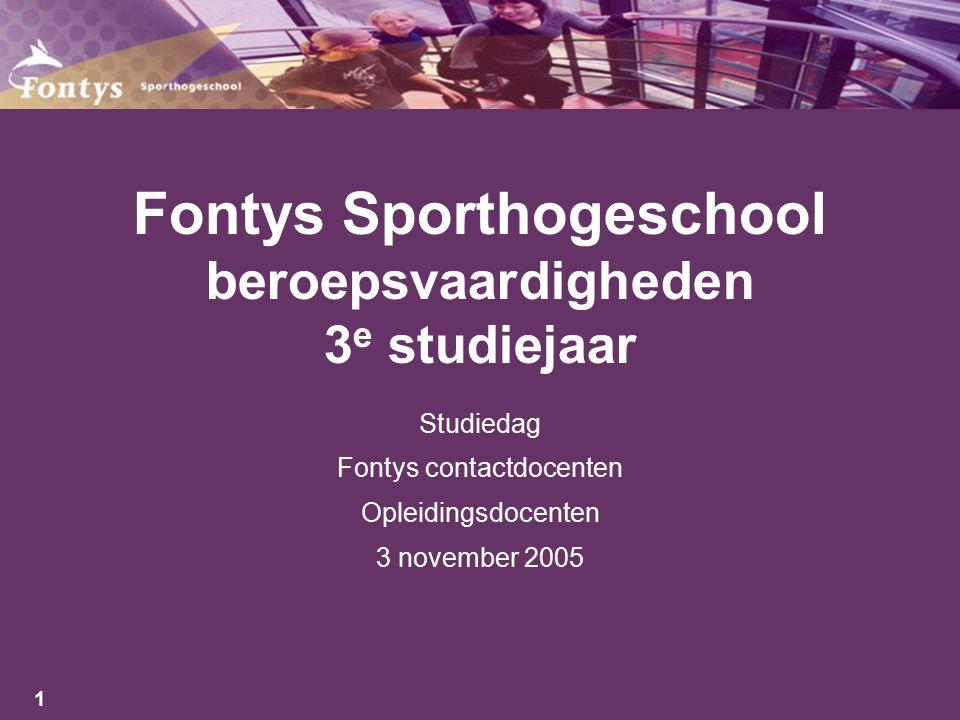1 Fontys Sporthogeschool beroepsvaardigheden 3 e studiejaar Studiedag Fontys contactdocenten Opleidingsdocenten 3 november 2005