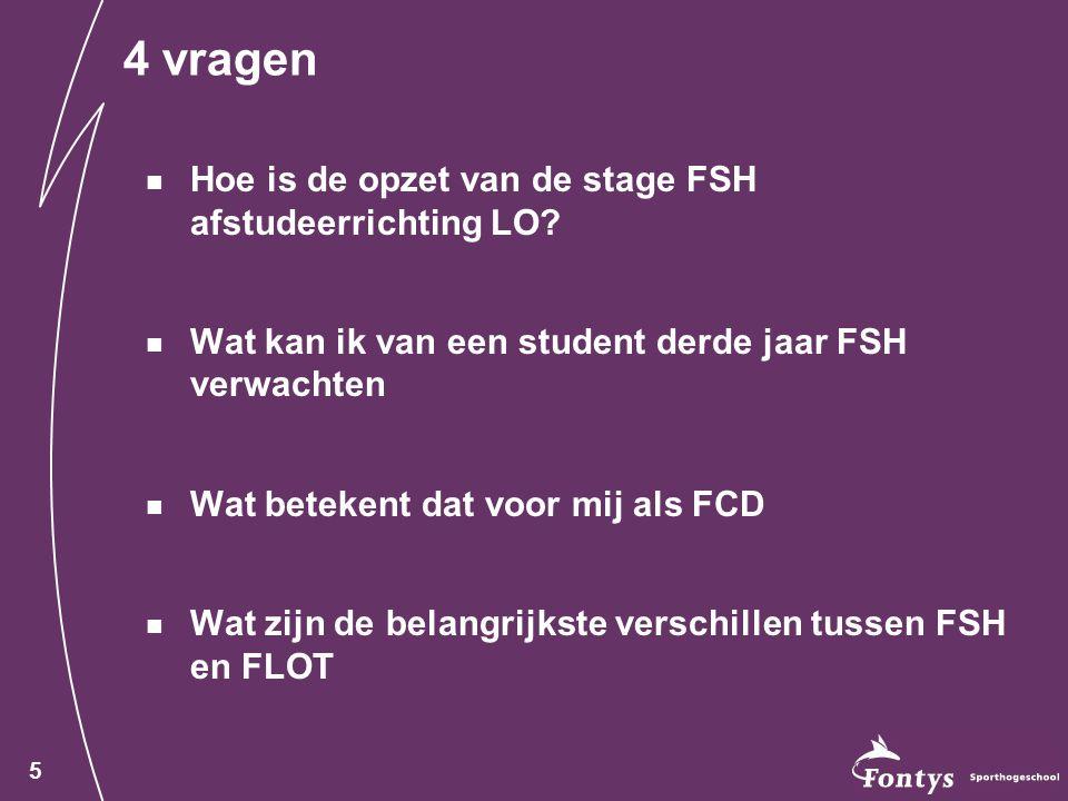 5 4 vragen Hoe is de opzet van de stage FSH afstudeerrichting LO.