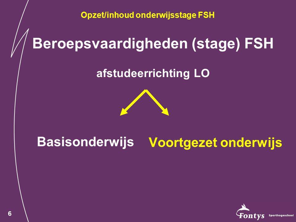 6 Beroepsvaardigheden (stage) FSH afstudeerrichting LO Basisonderwijs Voortgezet onderwijs Opzet/inhoud onderwijsstage FSH