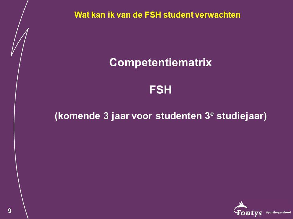 9 Competentiematrix FSH (komende 3 jaar voor studenten 3 e studiejaar) Wat kan ik van de FSH student verwachten