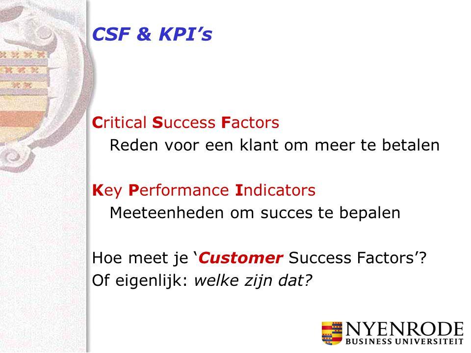 CSF & KPI's Critical Success Factors Reden voor een klant om meer te betalen Key Performance Indicators Meeteenheden om succes te bepalen Hoe meet je 'Customer Success Factors'.