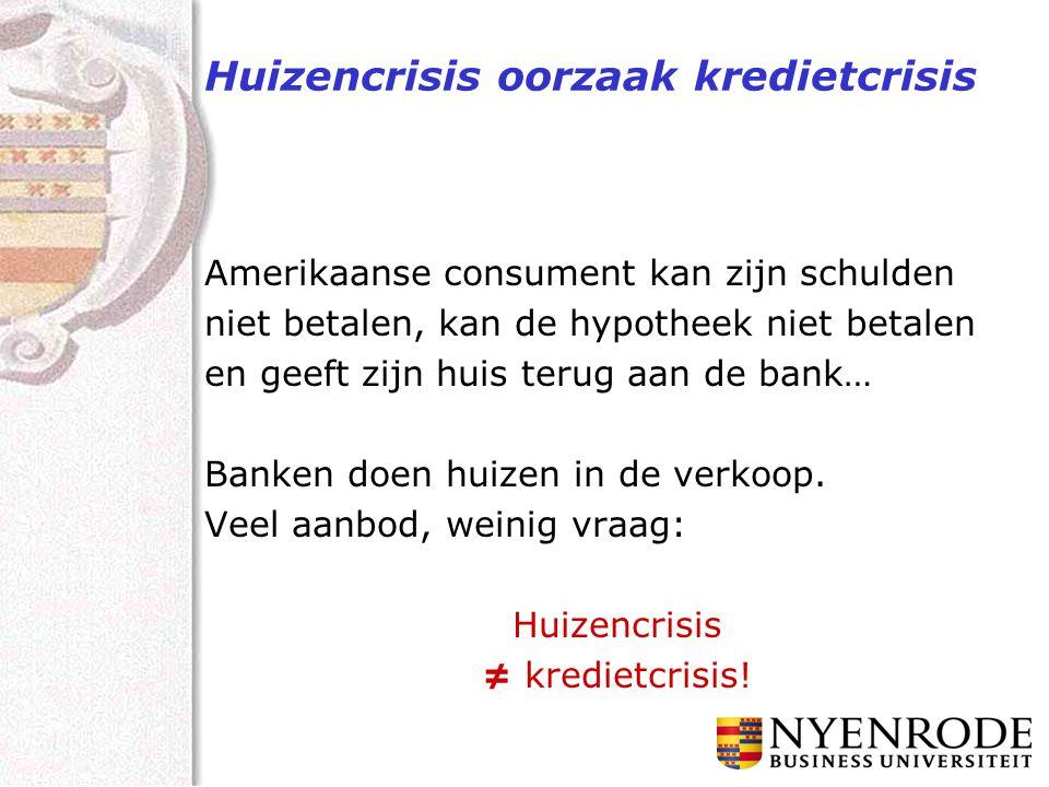 Huizencrisis oorzaak kredietcrisis Amerikaanse consument kan zijn schulden niet betalen, kan de hypotheek niet betalen en geeft zijn huis terug aan de bank… Banken doen huizen in de verkoop.