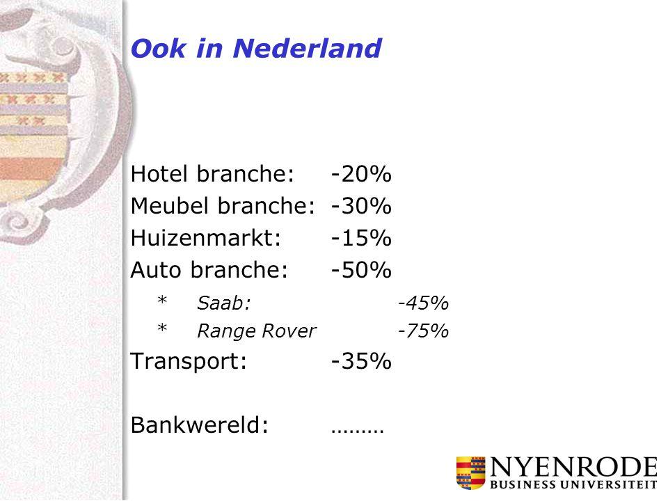 Ook in Nederland Hotel branche:-20% Meubel branche:-30% Huizenmarkt:-15% Auto branche:-50% *Saab:-45% * Range Rover-75% Transport:-35% Bankwereld:………