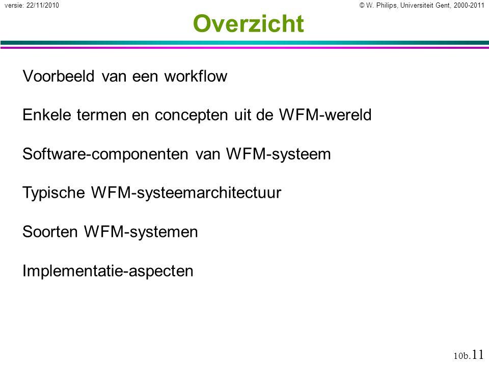 © W. Philips, Universiteit Gent, 2000-2011versie: 22/11/2010 10b. 11 Overzicht Voorbeeld van een workflow Enkele termen en concepten uit de WFM-wereld