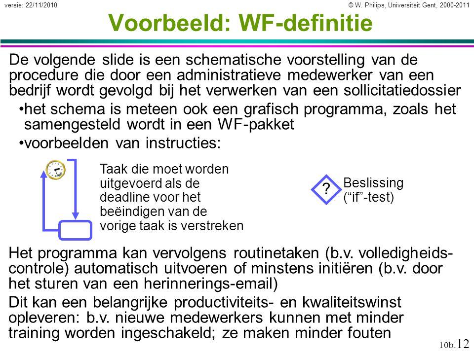 © W. Philips, Universiteit Gent, 2000-2011versie: 22/11/2010 10b. 12 Voorbeeld: WF-definitie De volgende slide is een schematische voorstelling van de