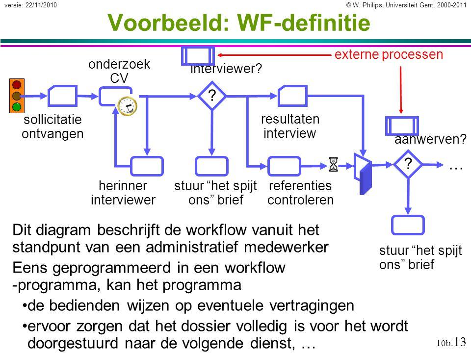 © W. Philips, Universiteit Gent, 2000-2011versie: 22/11/2010 10b. 13 Voorbeeld: WF-definitie Dit diagram beschrijft de workflow vanuit het standpunt v
