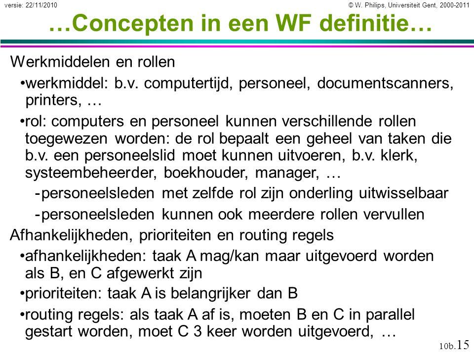 © W. Philips, Universiteit Gent, 2000-2011versie: 22/11/2010 10b. 15 …Concepten in een WF definitie… Werkmiddelen en rollen werkmiddel: b.v. computert