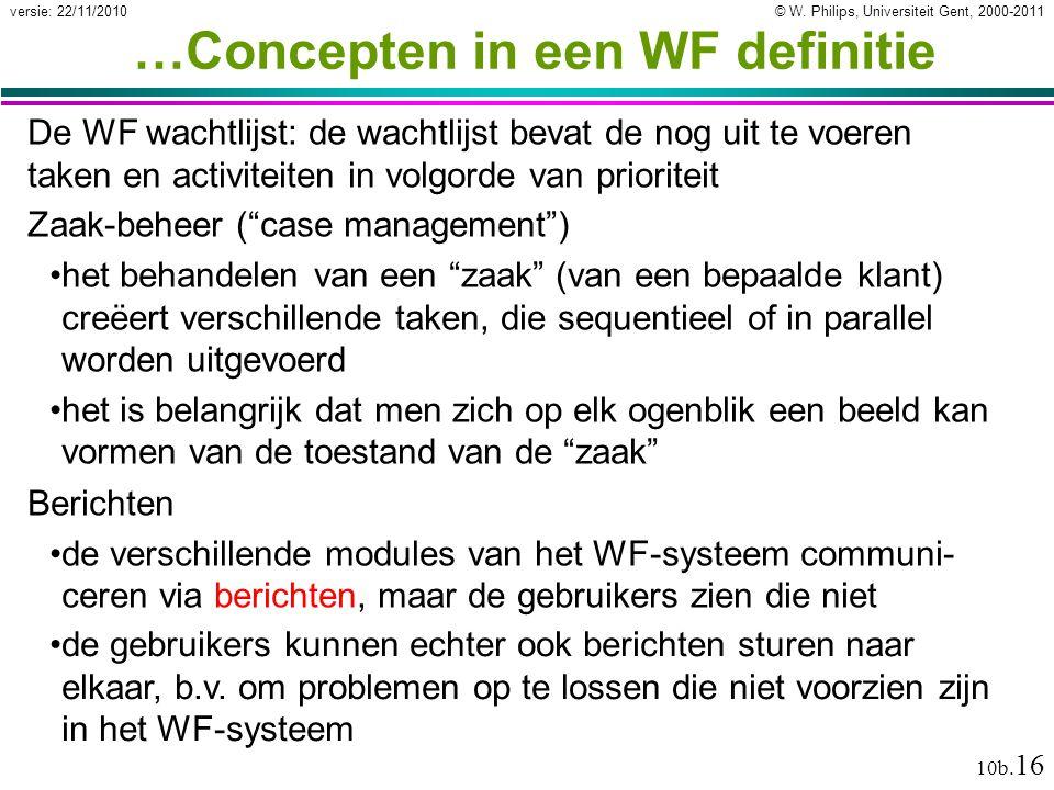 © W. Philips, Universiteit Gent, 2000-2011versie: 22/11/2010 10b. 16 …Concepten in een WF definitie De WF wachtlijst: de wachtlijst bevat de nog uit t