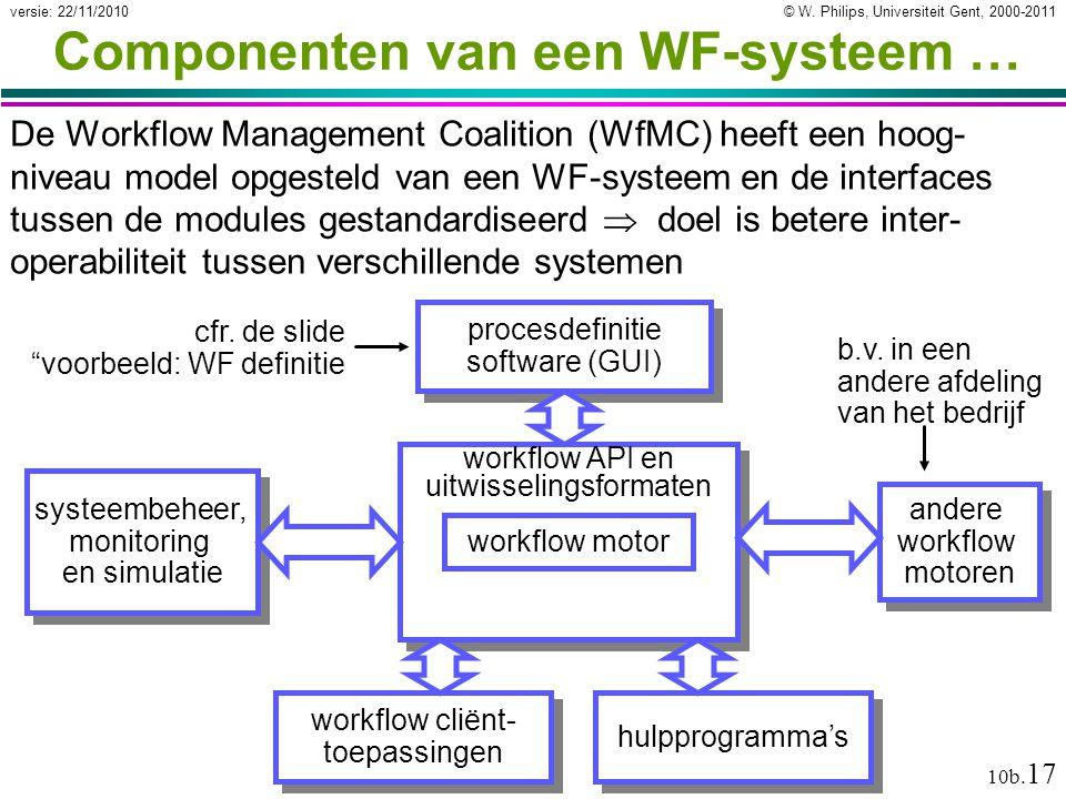 © W. Philips, Universiteit Gent, 2000-2011versie: 22/11/2010 10b. 17 workflow API en uitwisselingsformaten Componenten van een WF-systeem … De Workflo