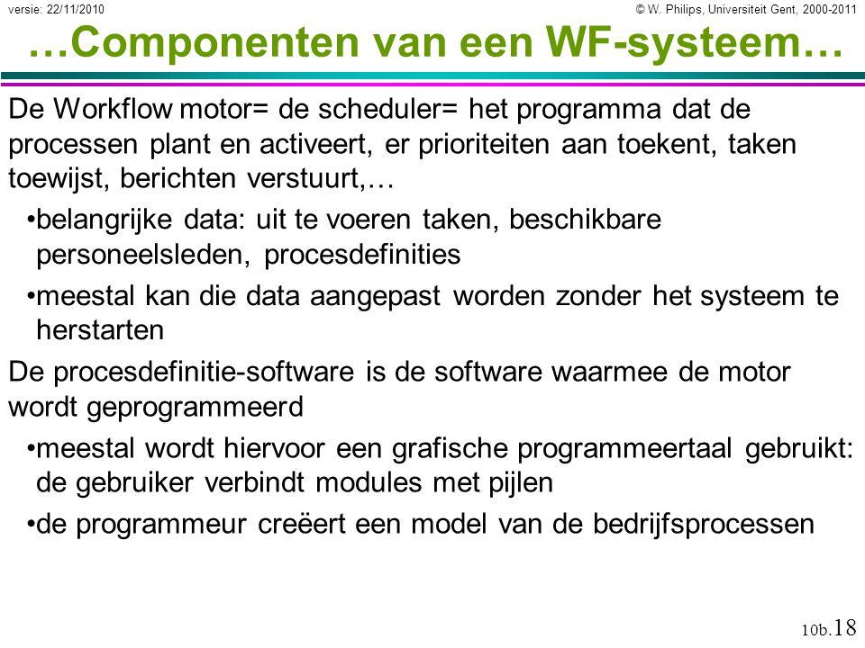 © W. Philips, Universiteit Gent, 2000-2011versie: 22/11/2010 10b. 18 …Componenten van een WF-systeem… De Workflow motor= de scheduler= het programma d