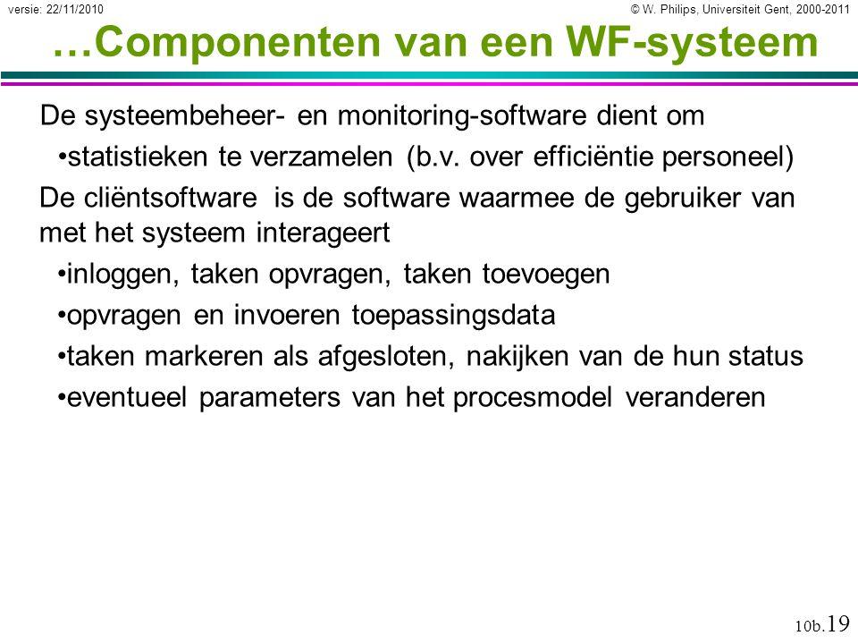 © W. Philips, Universiteit Gent, 2000-2011versie: 22/11/2010 10b. 19 …Componenten van een WF-systeem De systeembeheer- en monitoring-software dient om