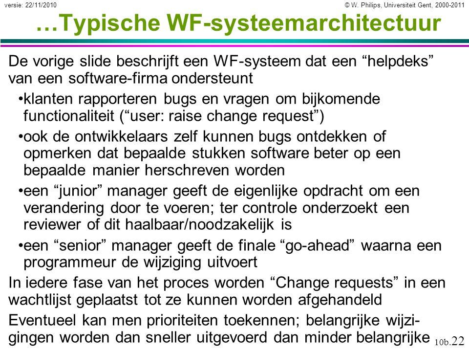 © W. Philips, Universiteit Gent, 2000-2011versie: 22/11/2010 10b. 22 …Typische WF-systeemarchitectuur De vorige slide beschrijft een WF-systeem dat ee