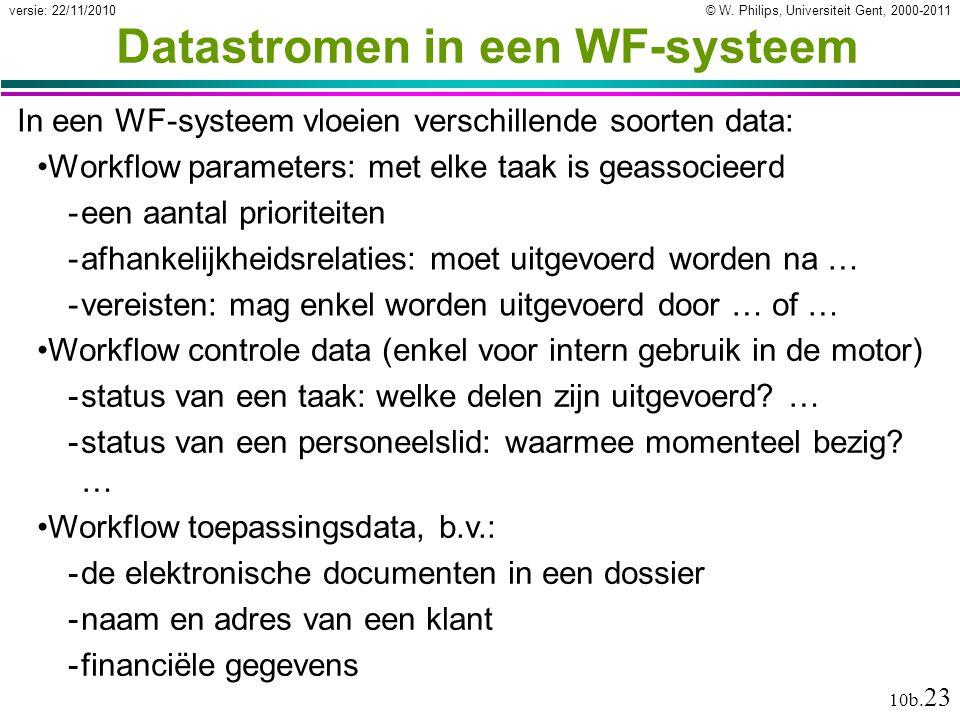© W. Philips, Universiteit Gent, 2000-2011versie: 22/11/2010 10b. 23 In een WF-systeem vloeien verschillende soorten data: Workflow parameters: met el