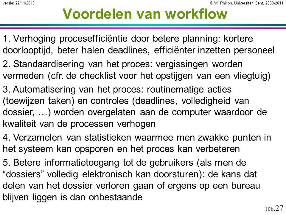 © W. Philips, Universiteit Gent, 2000-2011versie: 22/11/2010 10b. 27 Voordelen van workflow 1. Verhoging procesefficiëntie door betere planning: korte