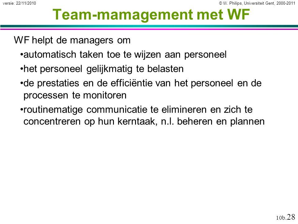 © W. Philips, Universiteit Gent, 2000-2011versie: 22/11/2010 10b. 28 Team-mamagement met WF WF helpt de managers om automatisch taken toe te wijzen aa