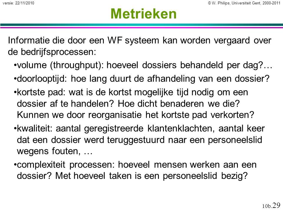 © W. Philips, Universiteit Gent, 2000-2011versie: 22/11/2010 10b. 29 Metrieken Informatie die door een WF systeem kan worden vergaard over de bedrijfs