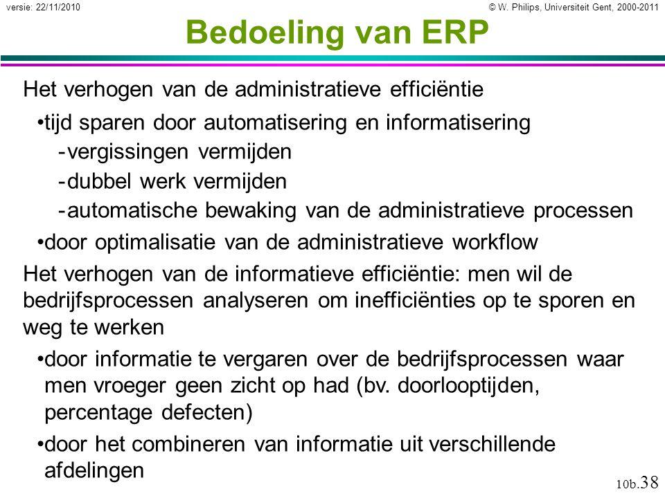© W. Philips, Universiteit Gent, 2000-2011versie: 22/11/2010 10b. 38 Bedoeling van ERP Het verhogen van de administratieve efficiëntie tijd sparen doo