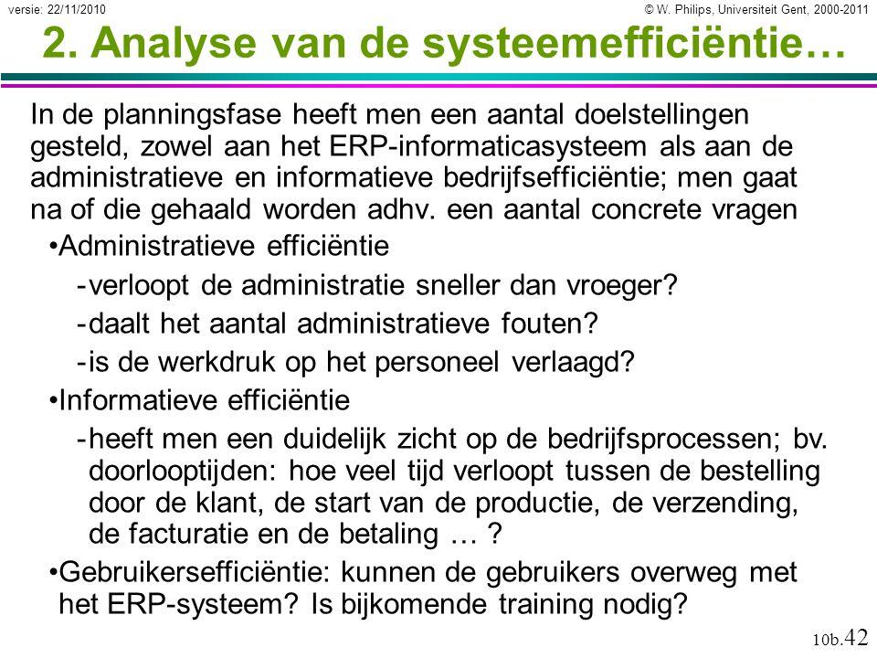© W. Philips, Universiteit Gent, 2000-2011versie: 22/11/2010 10b. 42 2. Analyse van de systeemefficiëntie… In de planningsfase heeft men een aantal do