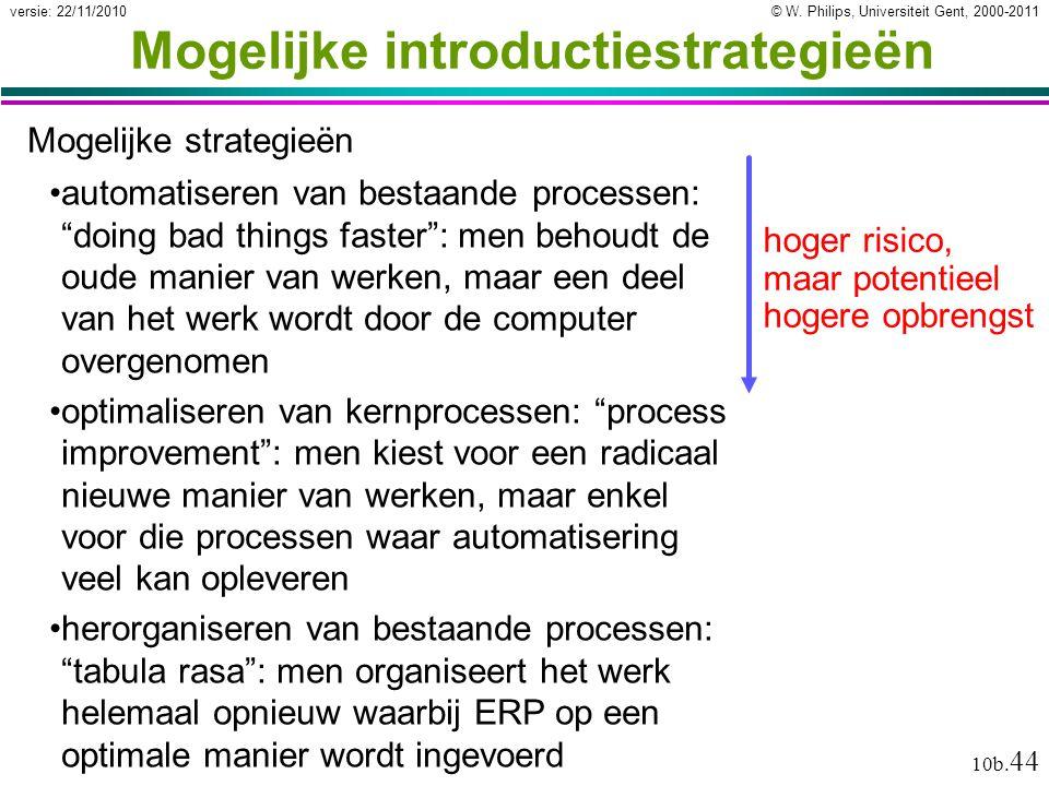 © W. Philips, Universiteit Gent, 2000-2011versie: 22/11/2010 10b. 44 Mogelijke introductiestrategieën Mogelijke strategieën hoger risico, maar potenti