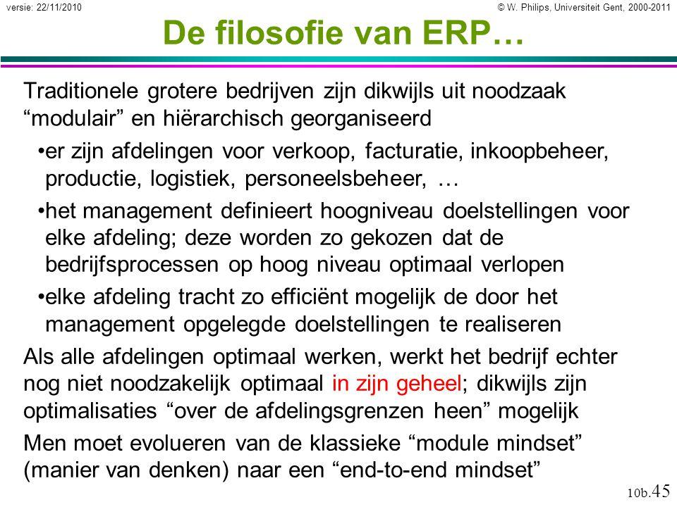 """© W. Philips, Universiteit Gent, 2000-2011versie: 22/11/2010 10b. 45 De filosofie van ERP… Traditionele grotere bedrijven zijn dikwijls uit noodzaak """""""