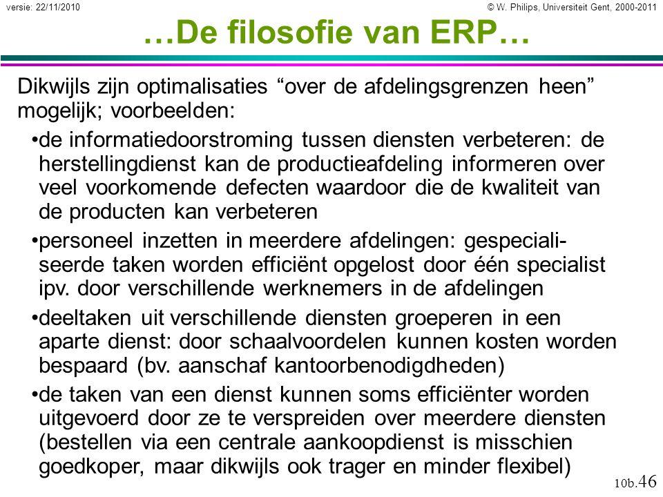 """© W. Philips, Universiteit Gent, 2000-2011versie: 22/11/2010 10b. 46 …De filosofie van ERP… Dikwijls zijn optimalisaties """"over de afdelingsgrenzen hee"""