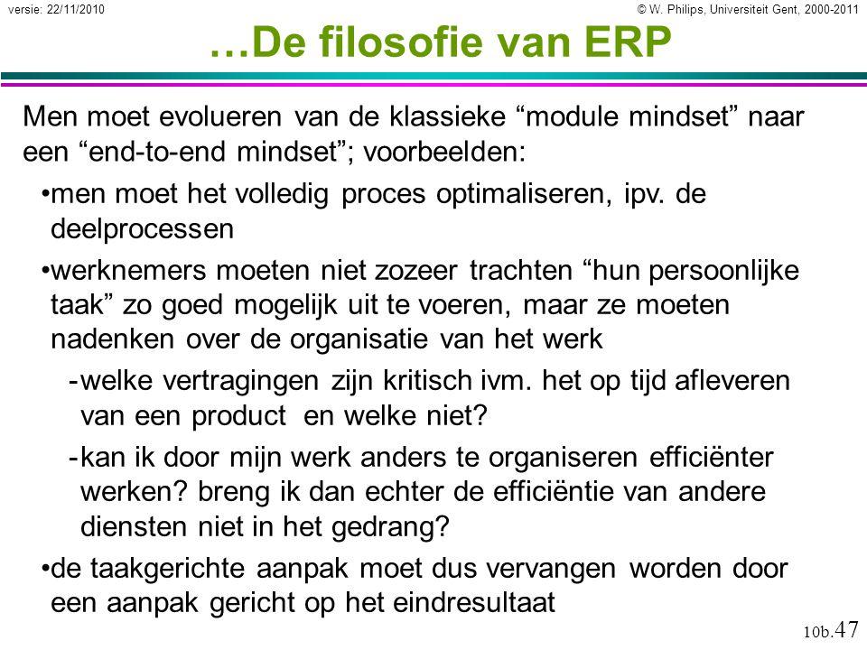 """© W. Philips, Universiteit Gent, 2000-2011versie: 22/11/2010 10b. 47 …De filosofie van ERP Men moet evolueren van de klassieke """"module mindset"""" naar e"""