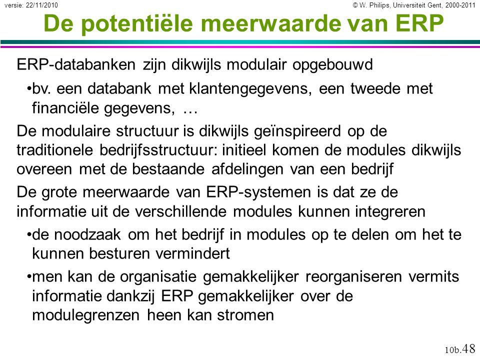 © W. Philips, Universiteit Gent, 2000-2011versie: 22/11/2010 10b. 48 De potentiële meerwaarde van ERP ERP-databanken zijn dikwijls modulair opgebouwd