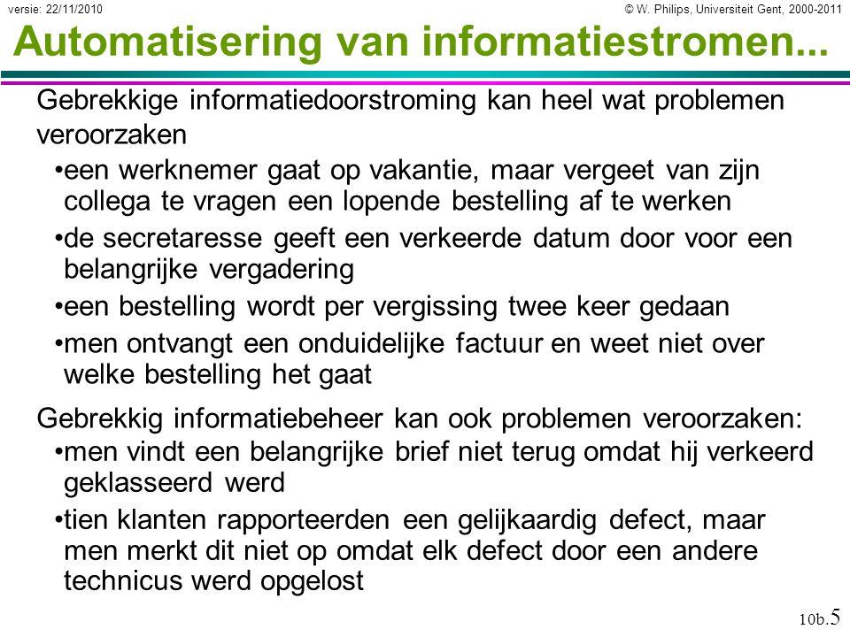 © W. Philips, Universiteit Gent, 2000-2011versie: 22/11/2010 10b. 5 Automatisering van informatiestromen... Gebrekkige informatiedoorstroming kan heel