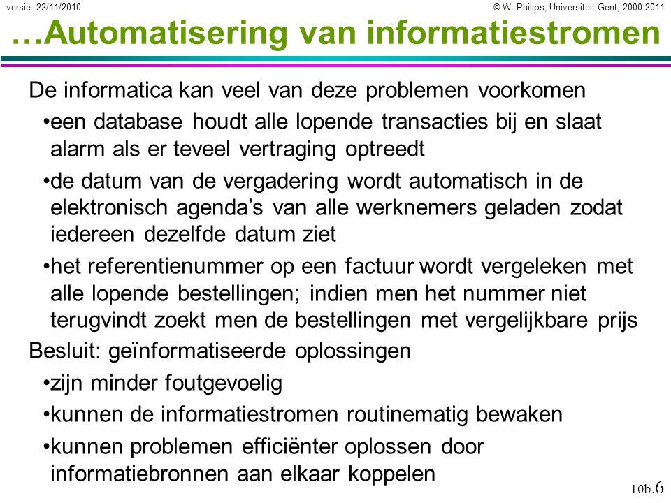© W. Philips, Universiteit Gent, 2000-2011versie: 22/11/2010 10b. 6 …Automatisering van informatiestromen De informatica kan veel van deze problemen v