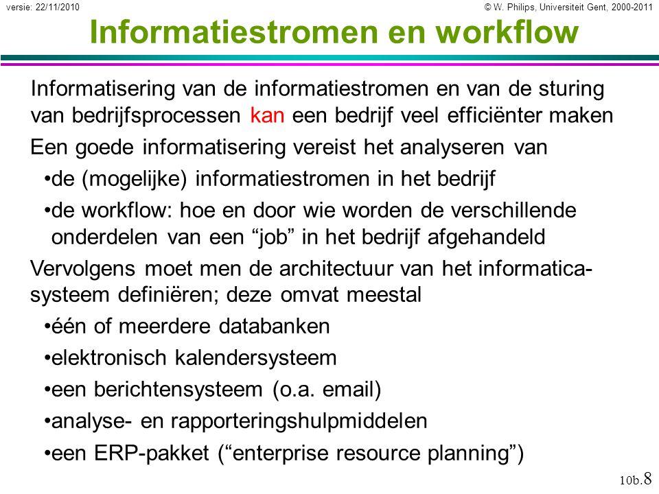 © W. Philips, Universiteit Gent, 2000-2011versie: 22/11/2010 10b. 8 Informatiestromen en workflow Informatisering van de informatiestromen en van de s
