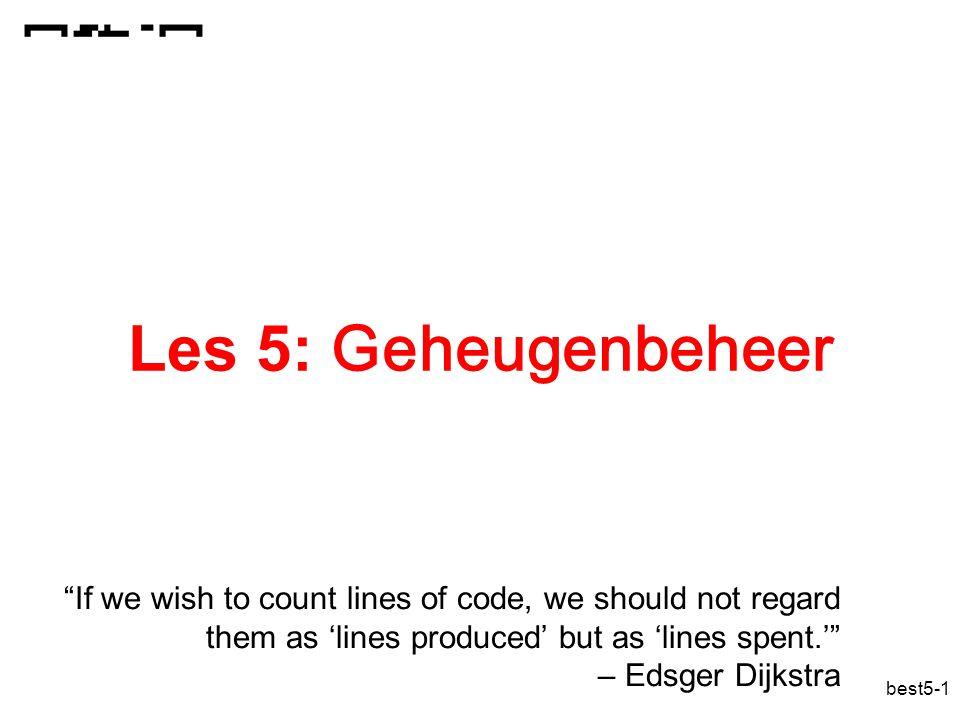 best5-42 Hiërarchische paginering CVE o fo f offset paginatabel frames fysiek geheugen logisch adres fysiek adres f p1 f1 p2 f2 p3 f3 p4 f4 p5 f5 p6 f6 p7 f7 p8 f8 TLB treffer TLB misser TLB SPARC: 8+6+6+12 IA32: 10+10+12 directory- tabel Paginering: hiërarchisch