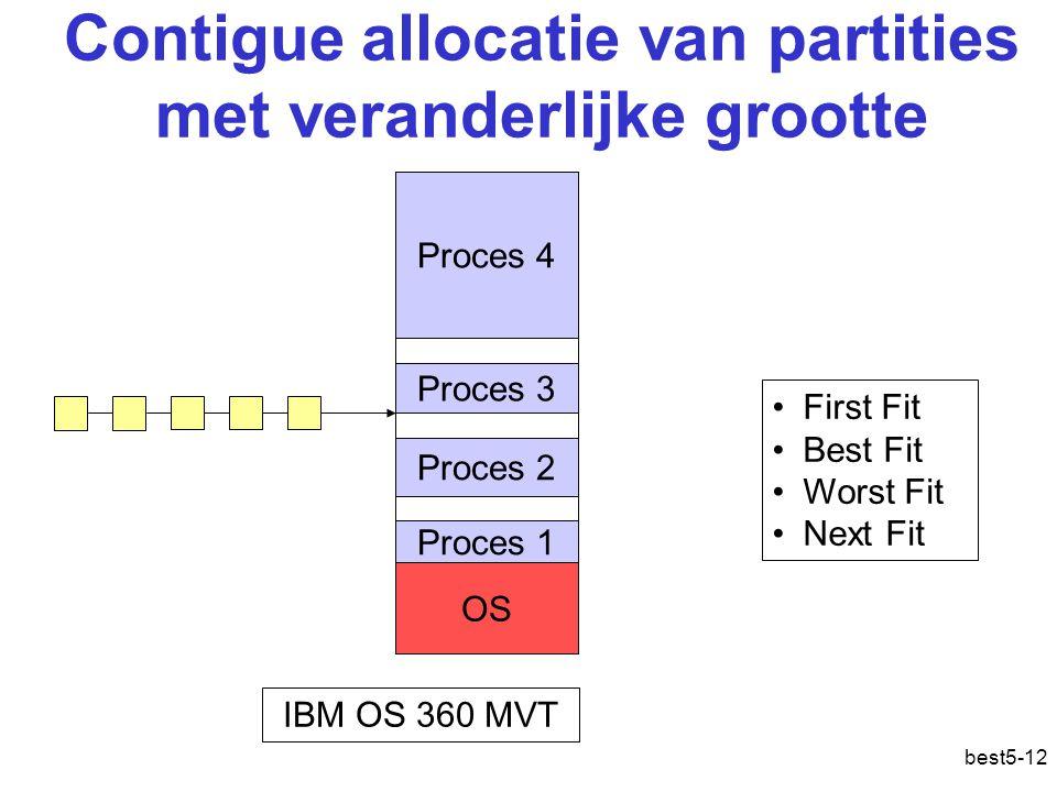 best5-12 Contigue allocatie van partities met veranderlijke grootte Proces 4 Proces 3 Proces 2 Proces 1 OS IBM OS 360 MVT First Fit Best Fit Worst Fit Next Fit Geheugenallocatie: contigu