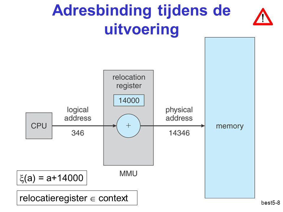 best5-8 Adresbinding tijdens de uitvoering  (a) = a+14000 relocatieregister  context Adresvertaling