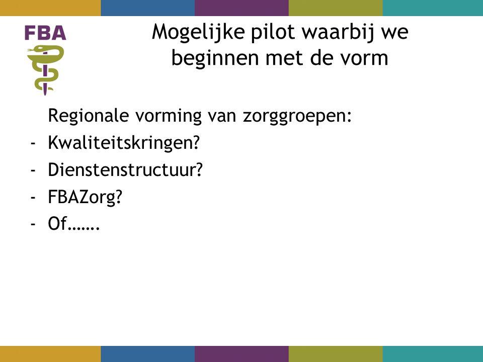 Mogelijke pilot waarbij we beginnen met de vorm Regionale vorming van zorggroepen: -Kwaliteitskringen.