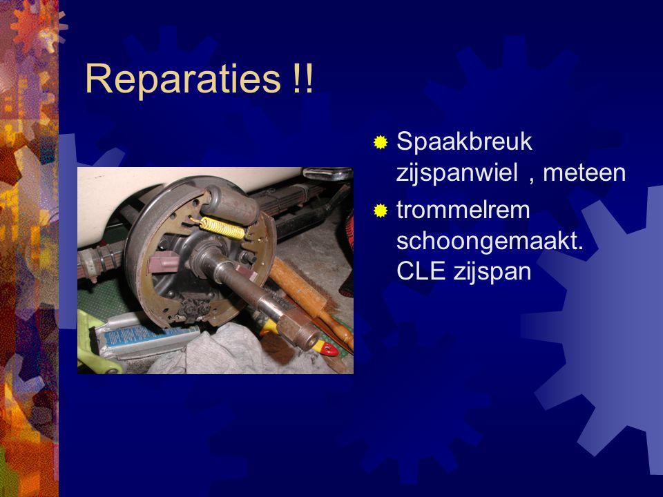 Reparaties !!  Spaakbreuk zijspanwiel, meteen  trommelrem schoongemaakt. CLE zijspan
