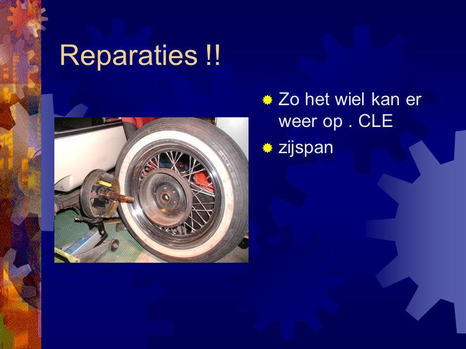 Reparaties !!  Zo het wiel kan er weer op. CLE  zijspan